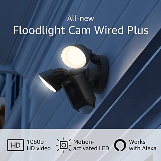 All-new Ring Floodlight Cam Wired Plus with motion-activated 1080p HD video, Black (2021 release) | Amazon