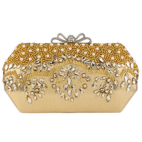 Purse Acrylic And Clutch Wedding Handbag Evening Beaded Bagood Bag Party Women's Sequined Gold Fw5p5UPq
