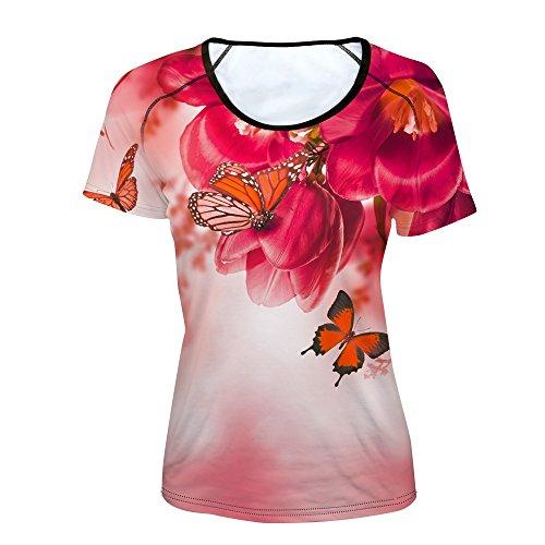 Fiori Sui Farfalla Yyd Stampa T F Serie Corte 3d A Maniche Donna shirt Da gFxgwqCv