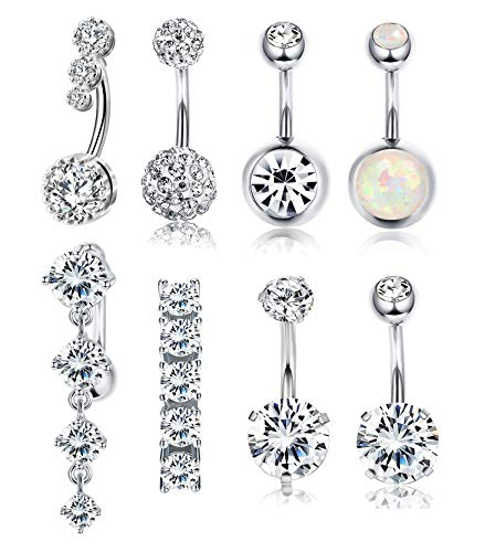 (RIOSO 14G Belly Button Rings for Women Girls Navel Rings Stainless Steel CZ Body Piercing Jewelry)