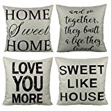 VAKADO Farmhouse Quote Words Throw Pillow Covers Cases Decorative Rustic Decor 18x18 Set of 4 for Couch Sofa, Home Sweet Home and So Together They Built a Life They Loved