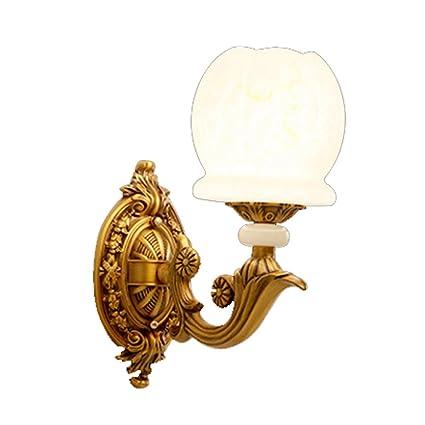 Lámpara de pared Retro Estilo Europeo Cobre Imitación de Mármol Simple Cabeza Única Creativa E27 Sala