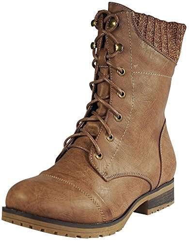 Refresh - Ladies Wynne-06 Sweater Cuff Lace Up Combat Boot, Taupe 38856-10B(M)US