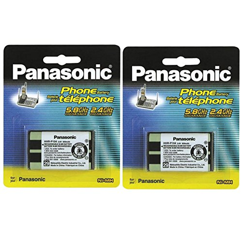 Panasonic 5.8 Ghz Cordless Telephone - (2 PACK) Panasonic Cordless Telephone Battery (HHR-P104A)