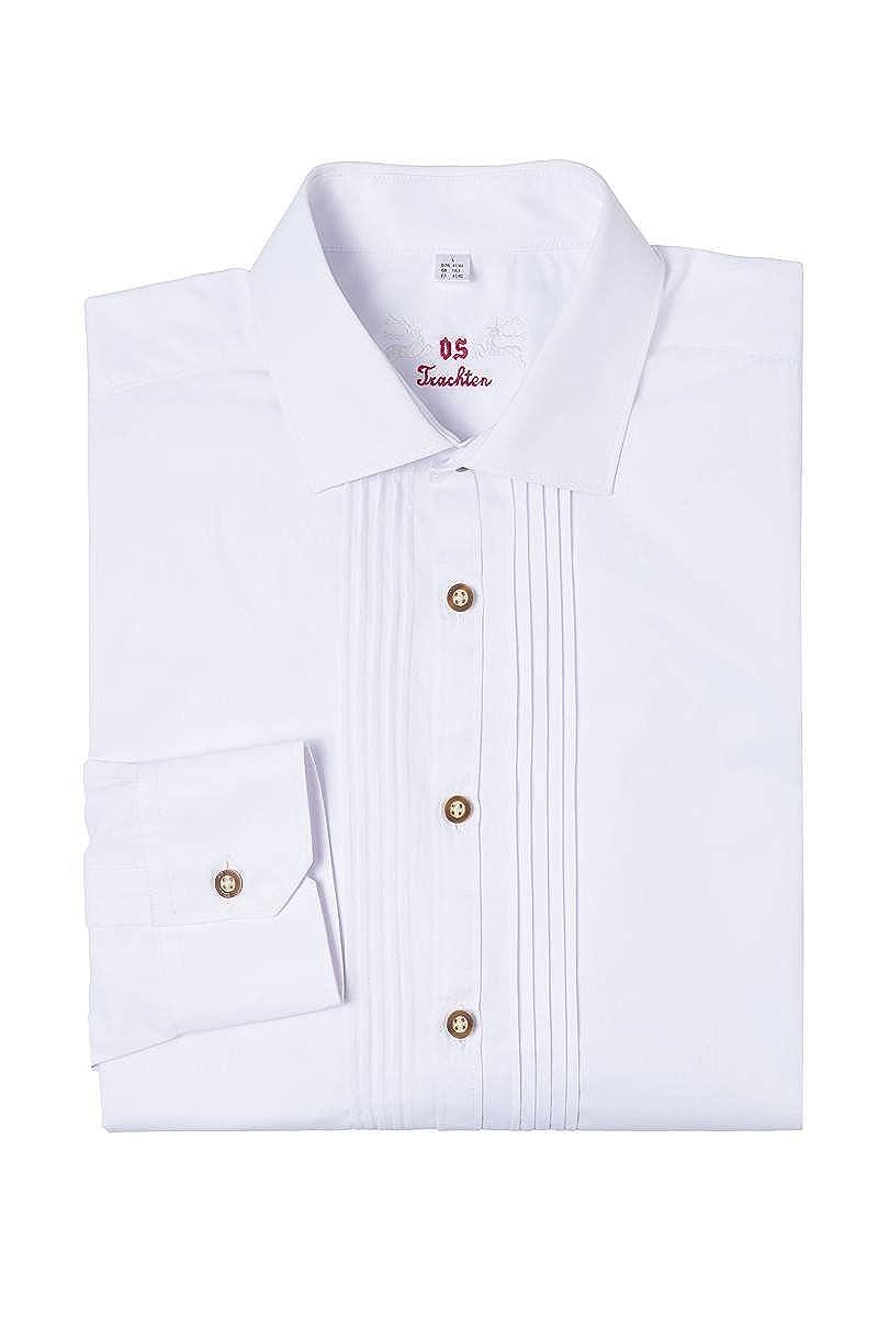 Material Baumwolle Liegekragen OS Trachten Moser Trachten Trachtenhemd Langarm Wei/ß Slimfit Lothar 002495 von
