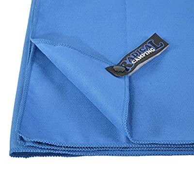 "Microfiber Camping & Sports Towel Large 24"" X 48"" From Radical Camping. Great for Travel, Camp, Hiking, Backpacking, Gym Workout, Sports, Beach and Bath. Compact, Lightweight, Super Absorbent & Fast Drying with Quick Snap Hanging Loop. Enjoy Your Active L"