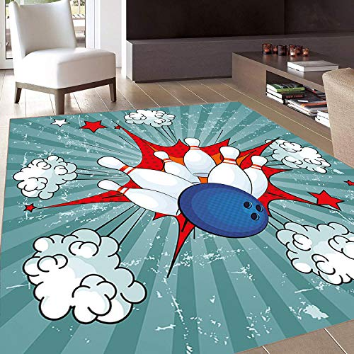 Rug,FloorMatRug,Bowling Party,AreaRug,Retro Comic Cartoon Ball Crash Image Pop Art Stars Aim Party Game Design,Home mat,5'8