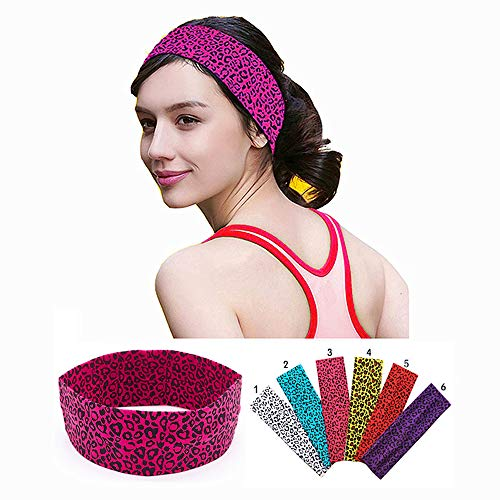 KATCOCO Cotton Headbands 6 Pack Stretch Elastic Yoga Soft and Stretchy Sports Fashion Headband for Teens Women Girls Leopard - Print Leopard Cotton