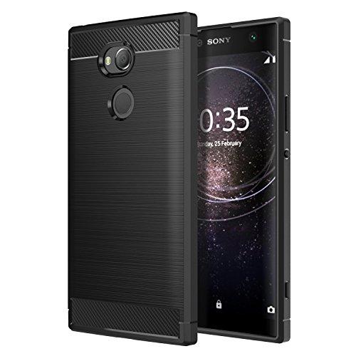 Sony Xperia XA2 Ultra Phone Case, MoKo Soft Lightweight TPU Bumper Cover Carbon Fiber Design Anti-Scratch Slim Back Panel Shock Aborsption Cellphone Shell for Sony Xperia XA2 Ultra 6 Inch, Black