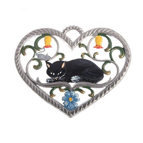 Wilhelm Schweizer Pewter Pendant, Heart with Cat 6 x 7 cm