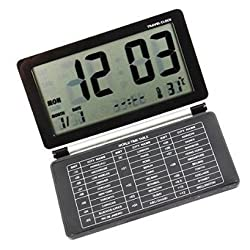 GenLed Travel Alarm Clock Comsmart Mini Slient 12/24 Hour Desktop Clock with Temperature Date Week LCD Digital Screen & Leather Cover (Black)