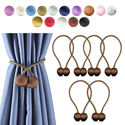 (Giayouneer Curtain Tiebacks, Magnetic Curtain Buckle - 6 Pack 16 Inch Strong Magnetic Window Clips Tie Band Backs Holders, European Style Simple Modern - 3 Pairs ( Chocolates ))