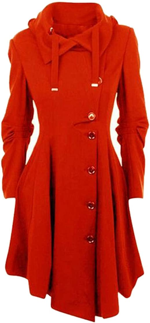 Mocilation Womens Gothic Winter Button Pleated Irregular Trench Wool Blend Coat Jacket