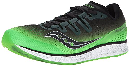 Saucony Mens Freedom ISO Running Shoe, Black/SlimeGreen, 44 D(M) EU/9 D(M) UK