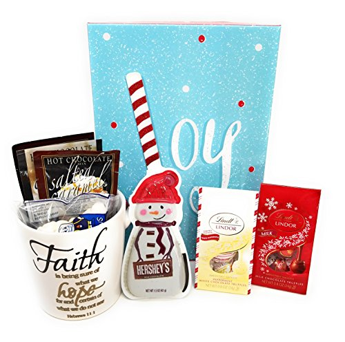 Gift Mug Set with Hot Cocoa and Lindor Chocolate and Hershey Chocolate Snowman in Gift Box Ready to Give