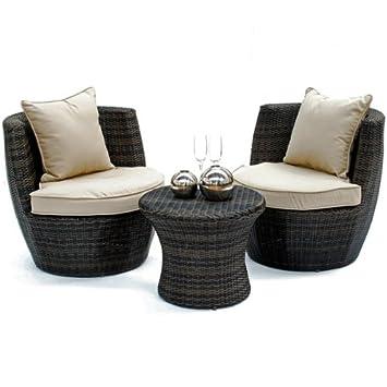 Mimbre al aire libre muebles de jardín apilables Oakley mesa silla ...