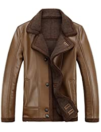 JIAX Men's Fashion Slim Winter Warm Thicken Sheep Skin Leather Coat Jacket