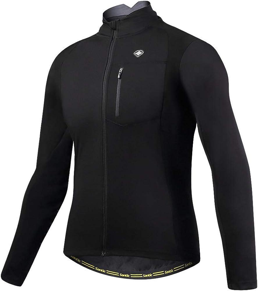 Santic Women Bike Fleece Coat Windproof Reflective Thermal Soft Shell Cycling Winter Biking Jacket