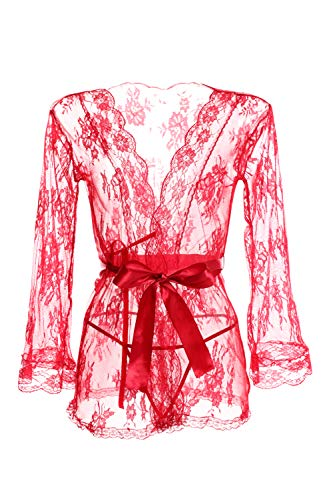Honney Women Sexy Lingerie Kimono Robe Sheer Lace Babydoll Mesh Nightgown -
