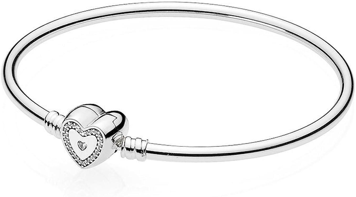 Pandora Bangle Heart Lock 590729cz Sterling Silver Silver Amazon De Schmuck