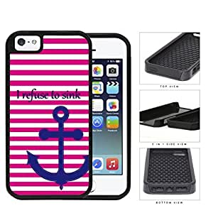 I Refuse To Sink Pink Stripe Anchor 2-Piece Dual Layer High Impact Hard shellSilicone Cell Phone Case Case For Sam Sung Note 2 Cover