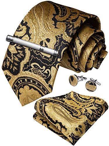 DiBanGu Mens Formal Paisley Necktie Silk Gold Black Ties Pocket Square Cufflink Tie Clip Set with Gift Box