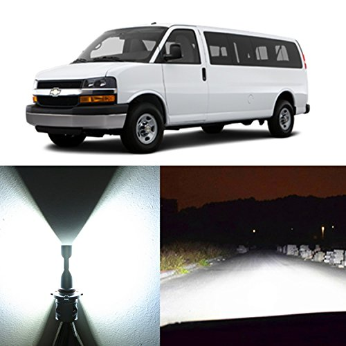 Alla Lighting 2pcs Xtremely Bright Low Beam White 9006 9006LL HB4 LED Headlight Conversion Kits Bulba Lamps for 1996~2017 Chevrolet Chevy Express 1500 2500 3500 4500 W/Halogen Capsule Headlamp