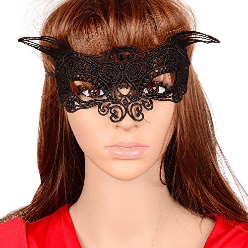 JY Jewelry SexyvBat Masquerade Eye Mask, Black Lace, Halloween, Batman Batwoman party mask PM38]()
