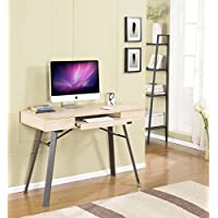 Kings Brand Metal With Wood Workstation Writing Computer Desk, Natural Finish