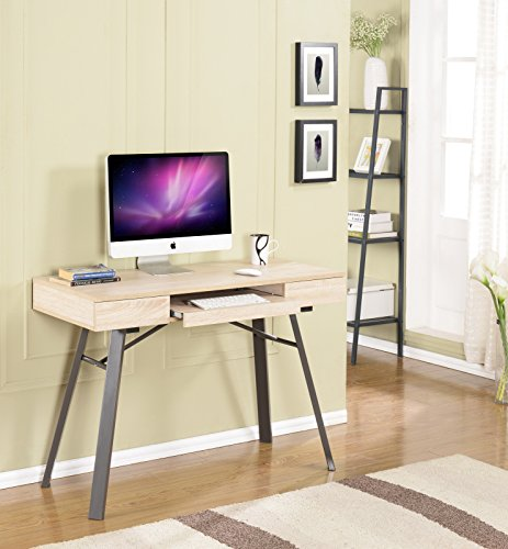 Natural Finish Desk (Kings Brand Metal With Wood Workstation Writing Computer Desk, Natural Finish)