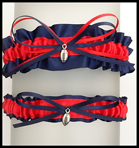 SEXY Navy Blue Red New England Inspired Satin Football Charm Wedding Keepsake Or Bridal Garter SET (Lingerie England)