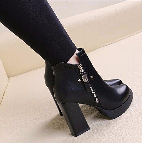 KHSKX-Schwarz 10 Cm Plus Samt Stiefel Dicke Mit Martin Stiefel Seitlichen Reißverschluss High Heeled Dick Und Blanken Stiefel Die Spitze Des Weiblichen Baumwolle Schuhe 39