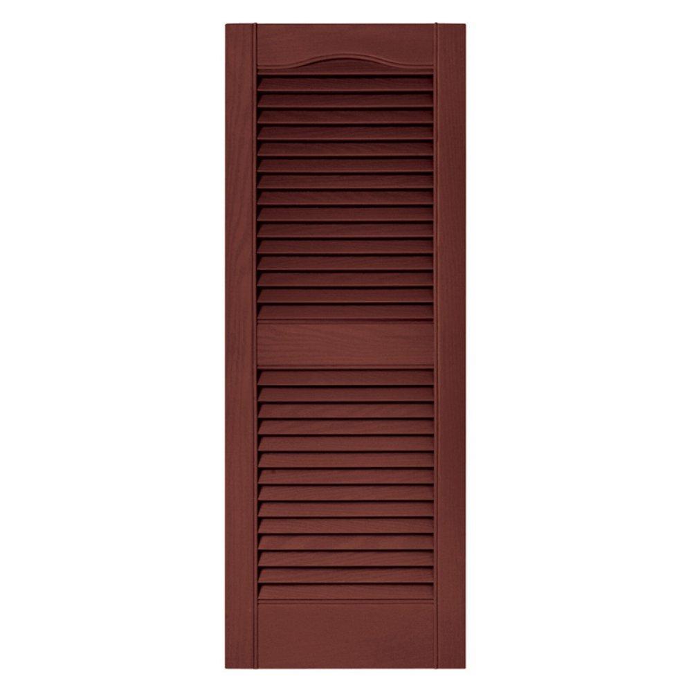 Builders Edge 15 in. Vinyl Louvered Shutters in Burgundy Red - Set of 2 (14.5 in. W x 1 in. D x 71.8125 in. H (8.39 lbs.))
