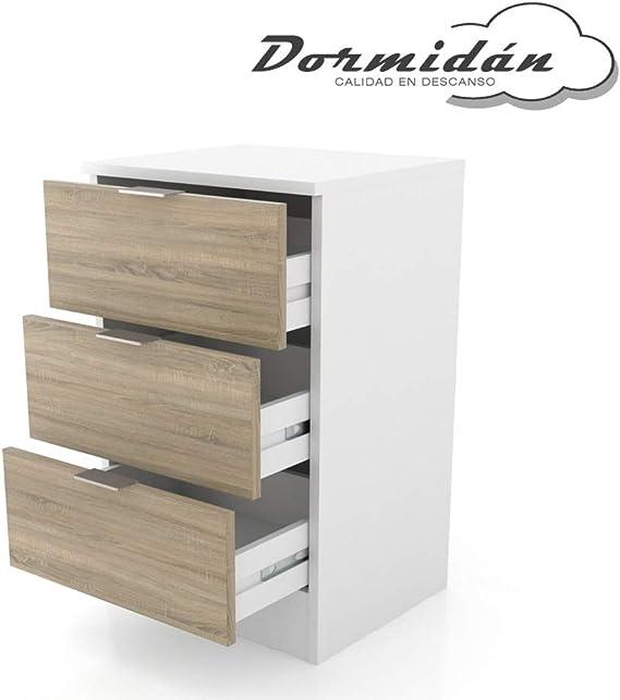 ormidán- Mesita de Noche 3 cajones, Medidas 40,5 x 64,5 x 35 cm (Blanco cajón Roble) …: Amazon.es: Juguetes y juegos