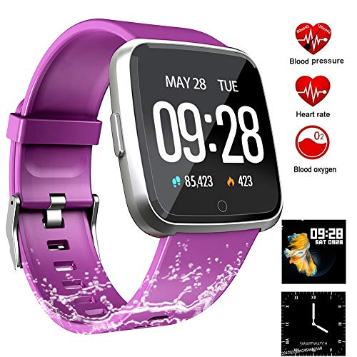 Fitness Tracker, Activity Tracker Fitness Watch with Heart Rate Monitor Color Screen,Waterproof Smart Bracelet with Step Counter,Calorie Counter,Pedometer for Kids Women Men Android iOS (Purple) ()