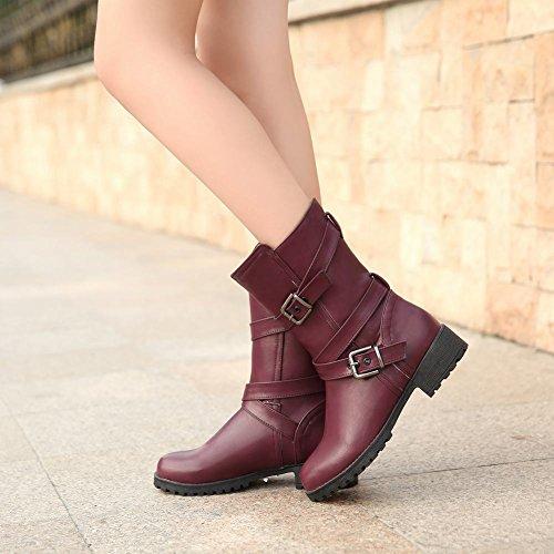 Show Shine Womens Fashion Block Heel Mid-Calf Westerm Boots Purple vepsHbWreV