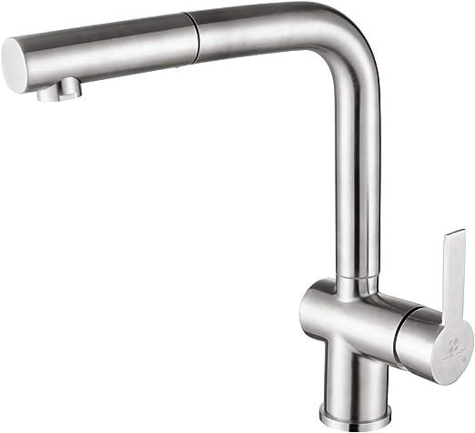 Ausziehbare Küchenarmaturen aus Edelstahl mit brause Wasserhahn Mischbatterie DE