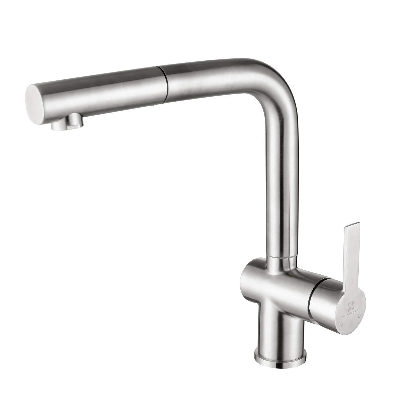 Homelody Wasserhahn Küche Spültischarmatur Ausziehbare Küchenarmatur Armatur Edelstahl mit Brause Mischbatterie Matt für Spülbecken