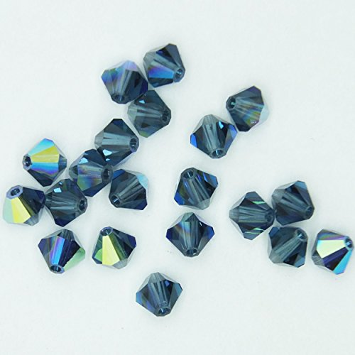 - Montana Blue AB Iris Rainbow 4mm Swarovski Crystal Beads. Bicone. Made in Austria. Pack of 20
