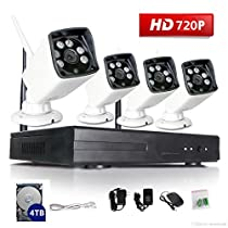 VOYAGEA 720P HD Wireless 1MP Network Camera 4CH960 NVR Wireless monitoring security system NVR CCTV Surveillance Systems Support Smartphone Remote view 4TB hard driveA25