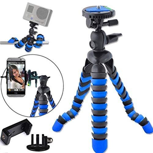 eTopxizu Universal 12 Inch Digital SLR Flexible Tripod Wrapable Legs Quick Release Plate for GoPro, iPhone X, 8, 8S,Samsung S9, S9 Plus,Smartphone + GoPro Tripod Mount + Cell Phone Tripod Adapter