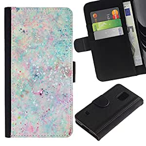 KingStore / Leather Etui en cuir / Samsung Galaxy S5 V SM-G900 / Paint Splash colores en colores pastel de la pintura;