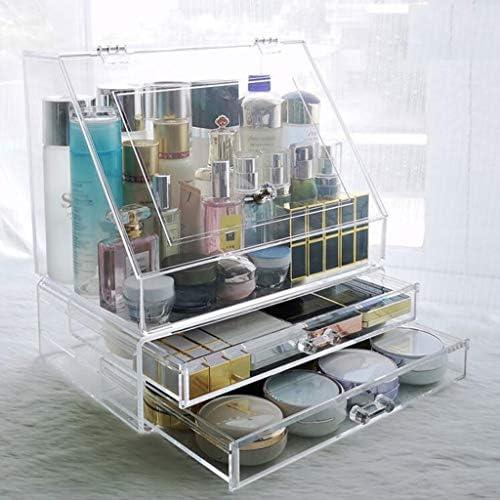 化粧品収納ボックス 家庭用防塵引き出し型大容量化粧品収納箱カバー付き透明アクリル XLSM (Size : D)