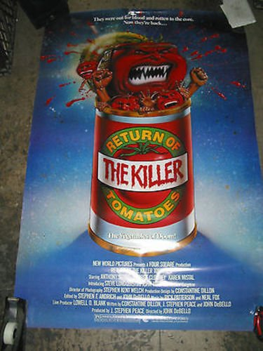 RETURN OF THE KILLER TOMATOES /ORIG. US ONE-SHEET MOVIE POSTER (GEORGE CLOONEY) (Return Of The Killer Tomatoes George Clooney)