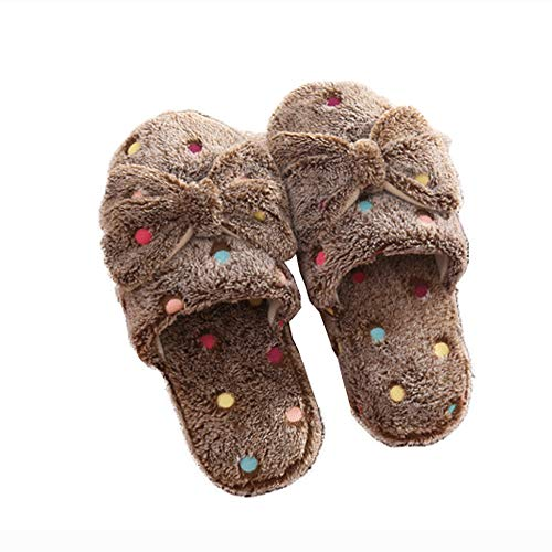 Bow Scuff Indoor House Cute House Slippers Plush Toe Women Shoes Warm Plush Brown Dot Closed UTYwn