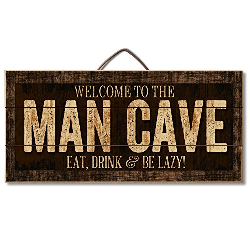 Sign Cave Man (Welcome to the Man Cave Eat, Drink & Be Lazy Reclaimed Wood Pallet Sign - Made in USA!)