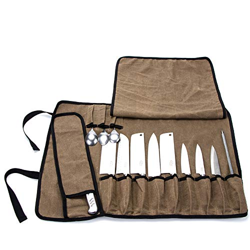 Khaki Chef's Knife Roll, Waxed Canvas Knife Roll Bag, Versatile Cooking Tools Storage Cases, Home Kitchen Cutlery Knives Holders,Portable Waterproof Knife Carrier With 13 Pockets+Shoulder - Chefs Knife Bag
