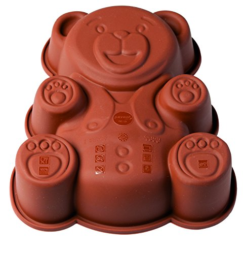 Pavoni FRT131 Platinum Silicone Orsetto-Teddy Bear Mini Cake Mould, Brown (Teddy Bear Cake Pan compare prices)