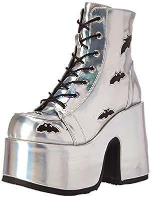 Demonia Women's Cam201/Shg-Bvl Ankle Bootie, Slv Hologram-Black Vegan Leather, 6 M US