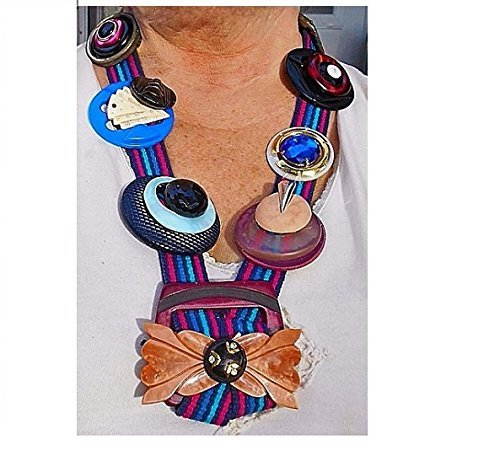 Bakelite Celluloid Button Necklace.Button Art with 30 Buckles, Victorian Black Jet Glass, Buttons, Vintage Pendants, Earrings Etc Necklace.